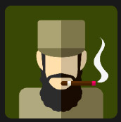 smocking military man with big beard