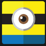 white big eyes yellow face and black and blue strip