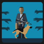 man with gun's and his dog quiz
