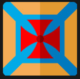 red and blue in orange square character icon
