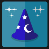magician blue crest with stars