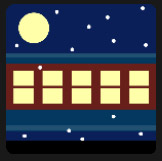 big moon and blue train holiday
