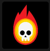 skull in flames tv and film icon pop