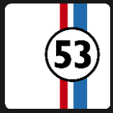 white square red and blue strip and 53 number