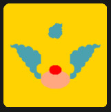 yellow square and clown with red nose