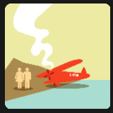 red airplane crash on an island