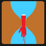 hourglass with an bleeding hand