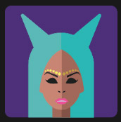 green horns woman icon pop