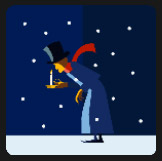 man with candle walking on snow