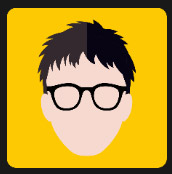 black hair man in yellow square quiz