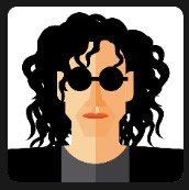 curly hair man with circle black glasses