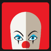 clown with red hair and red nose icon pop