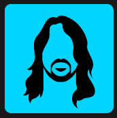 blue square man with long hair quiz
