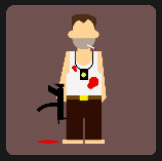 smoking man holding an gun with blood on him