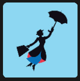 woman with briefcase flying with his umbrella