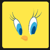 little yellow bird with big blue eyes