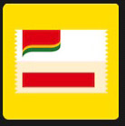 red and white in yellow square stamp