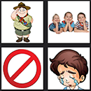4 pics 1 movie answers game circus boy scout, red sign and crying boy