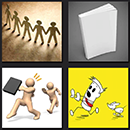 4 pics one movie men drawing running yellow background