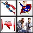 4 pics one movie level 4 cheats superhere, red thumbs down sign, medic