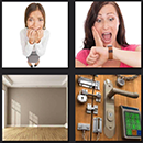 4 pics 1 movie room, locks, scarred woman