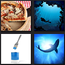 4 pics 1 movie pizza, diver, blue paint and shark