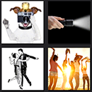 4 pics one movie dog taking picture, flashlight, dancing