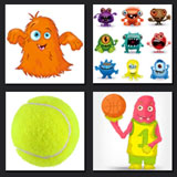 4 pics 1 mobie monsters, tenis ball