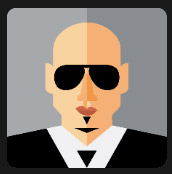 black glasses man icon pop