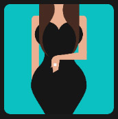 long hair woman hourglass shape