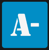 A-white-in-blue square icon
