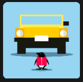 penguin infront a of an yellow car quiz