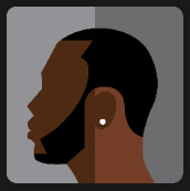 black man wearing earrings