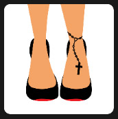 womman with chain cross on her ankle