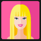blonde doll yellow hair pink lips character