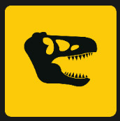yellow square with dinosaur skull icon