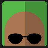 bald black man with glasses character