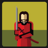 samurai mai dressed in red holding a sword