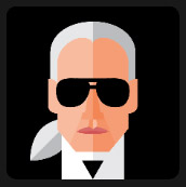 suit man with black big glasses white hair