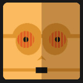 robot orange face icon pop