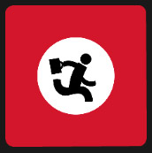 running man in red square icon
