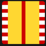 yelow and red and white character stripe