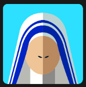 nun dressed in white and blue hood