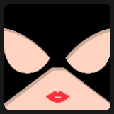 woman with red lips and black mask