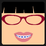 woman wearing red glasses with black hair quiz