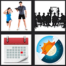 4 pics one movie calendar, girl working out, weather sign