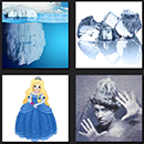 4 pics one movie answers level 4 iceberg, princess in blue, ice cubes