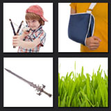 sword, boy, grass, broken arm