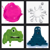 monsters, greem, pink, splash