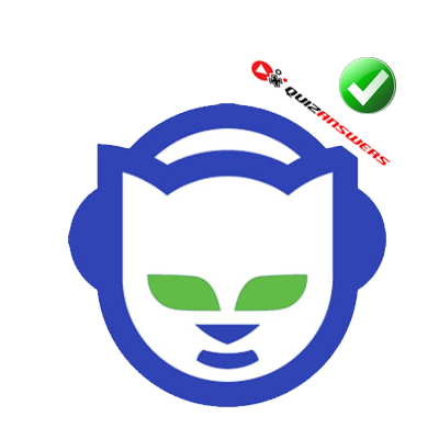 Blue Cat With Earphones And Green Eyes Logo